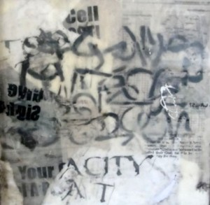 Global City Babel text encaustic S
