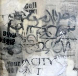 Global City Babel text encaustic S