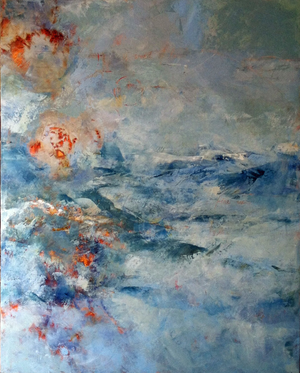 O Form Finely Wrought Upon the Waters,,,Fire Upon the Water 3 x 4 feet  oil and wax on panel.